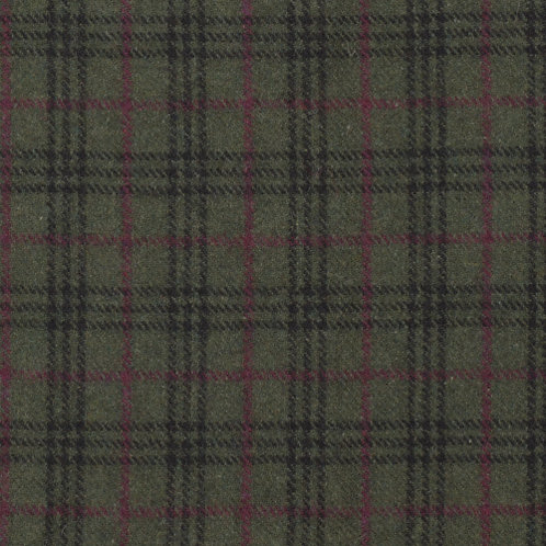 Wool tartan 60% wool-green with red/black