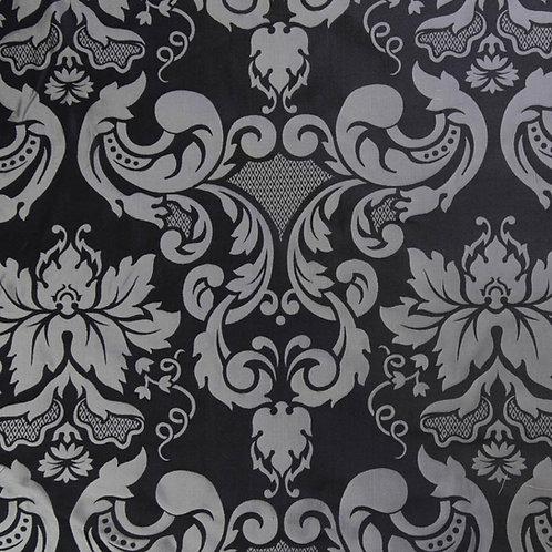 Silk damast medalion-silver black
