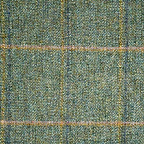 Wool tweed tartan fishbone-blue