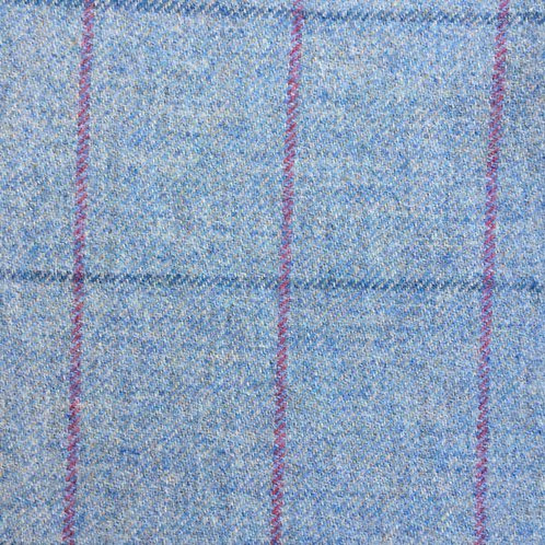 Tartan wool fabric-light blue with red