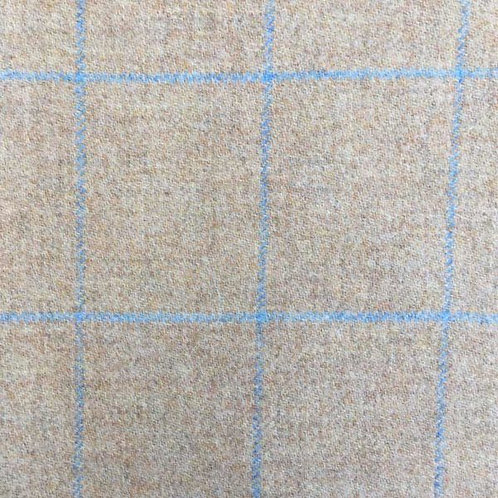 Tartan wool fabric-gray with blue