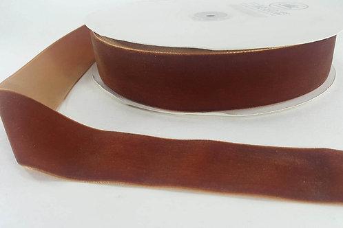 Velvet ribbon-terracotta brown 3,8cm