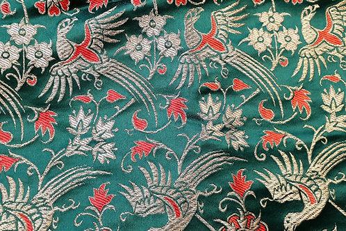 Silk brokade- birds on green 14th cent