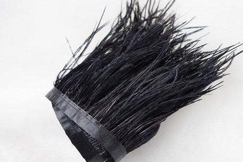Ostrich feather trim-black