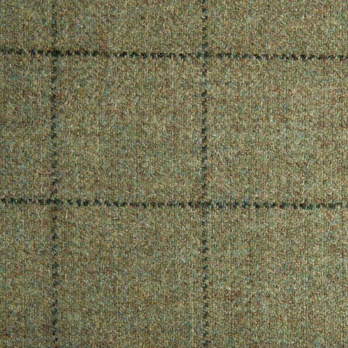Tartan wool fabric-gray green with black