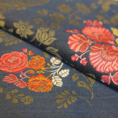 Norwegian wool brocade-blue