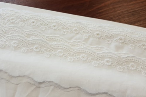 Embroidered cotton lace 5cm- white