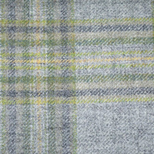 Tartan wool fabric-gray with green