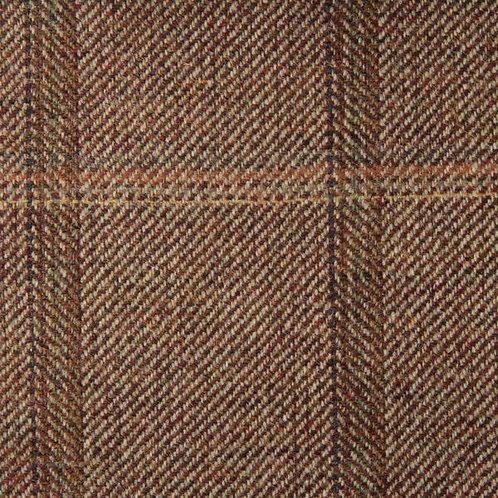 Tartan wool fabric-light brown 38