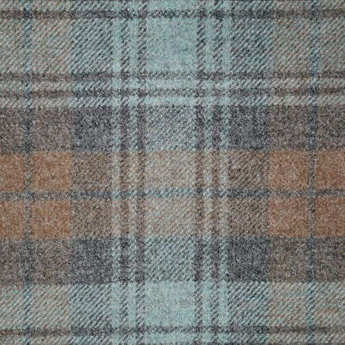Tartan wool fabric-blue brown