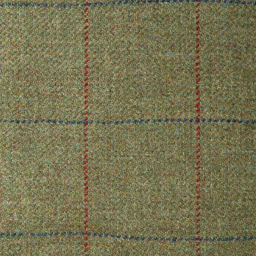 Tartan wool fabric-gray green with red and blue 01