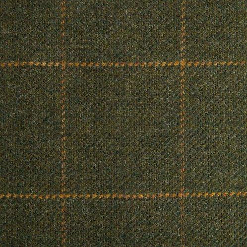 Tartan wool fabric-green with yellow