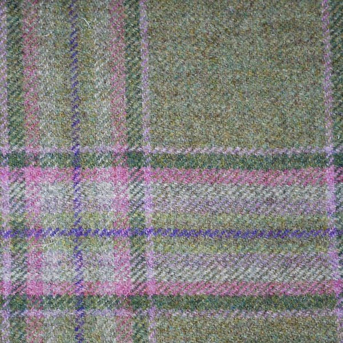 Tartan wool fabric-green with pink