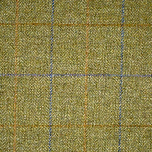 Wool tweed tartan fishbone-green with blue and yellow
