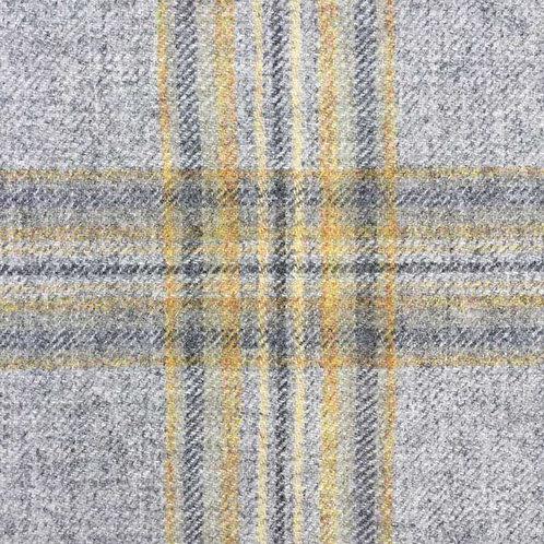 Tartan wool fabric-gray with yellow