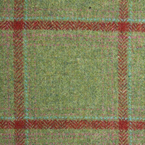 Tartan wool fabric-green with red