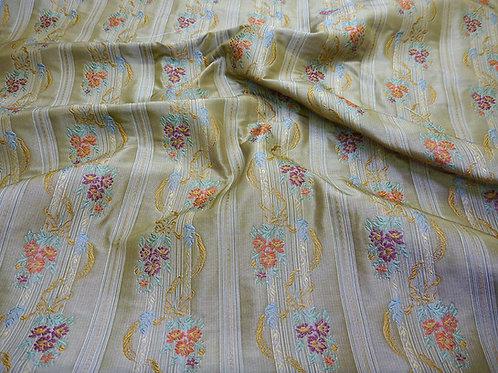Silk- stripe/flower beige