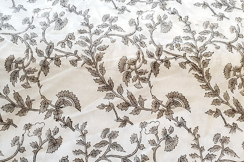Cotton print-gray flowers