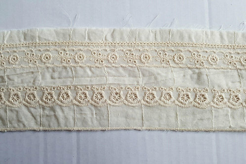 Embroidered cotton insert lace 8cm- beige