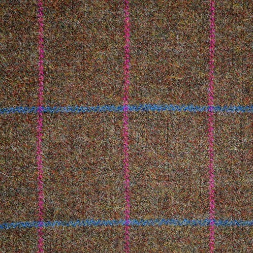 Tartan wool fabric-brown with pink and blue