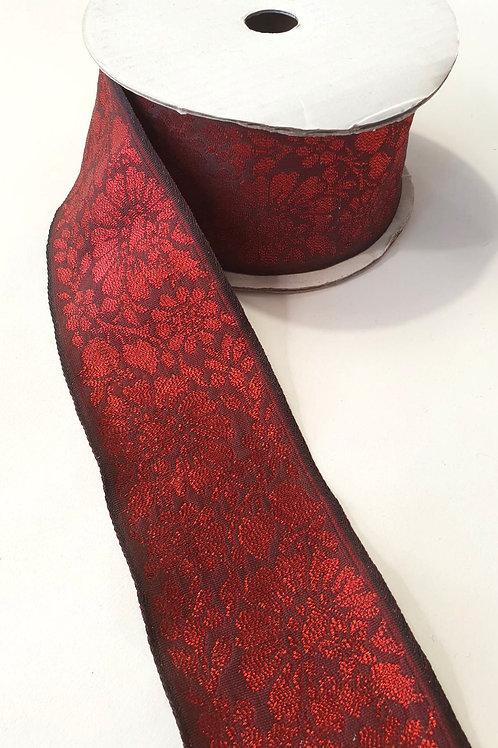 Brocade ribbon- red black