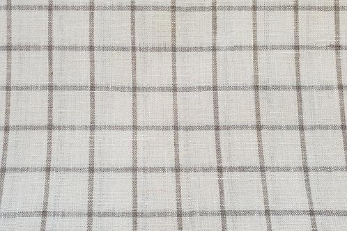 Checked linen-natural, white