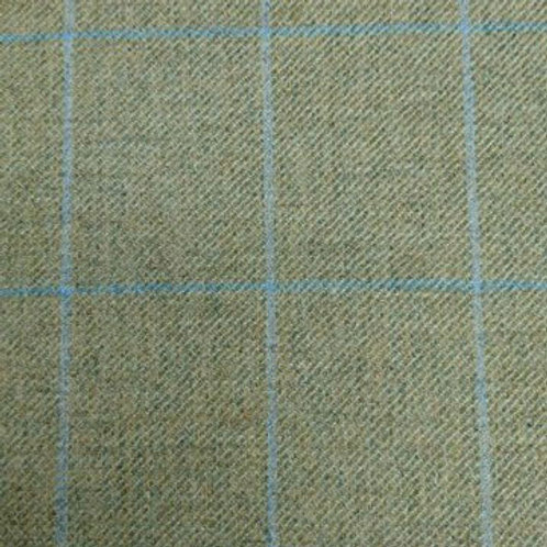 Tartan wool fabric-light olive with blue