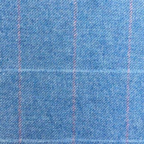 Tartan wool fabric-sky blue, pink