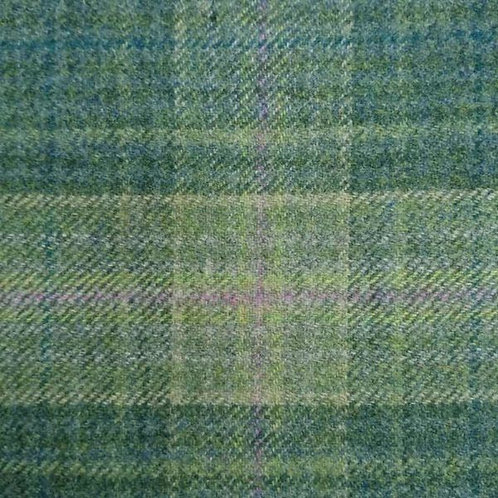 Tartan wool fabric-green blue