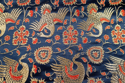Silk brokade- gold birds on blue 14th cent