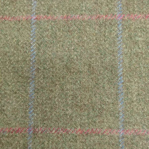Tartan wool fabric-olive with blue and pink