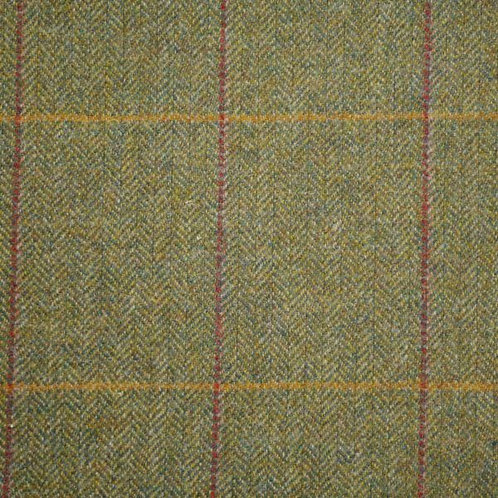 Wool tweed tartan fishbone-green with red & yellow 36