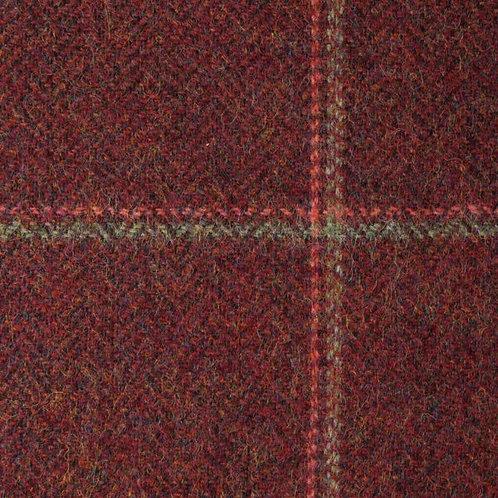 Wool tweed tartan fishbone-red with red/green