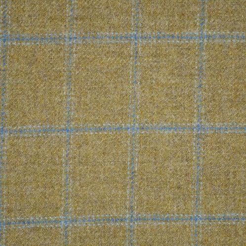 Tartan wool fabric-khaki & blue