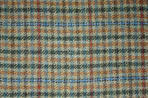 Tartan wool fabric-beige blue small checks