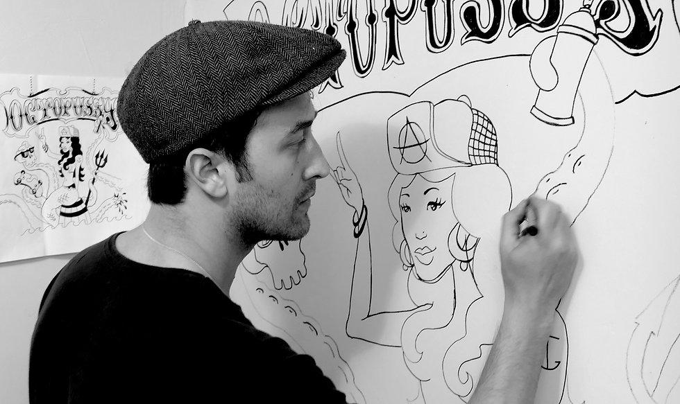 Illustrator mural comic street art graffiti mister 7 mr