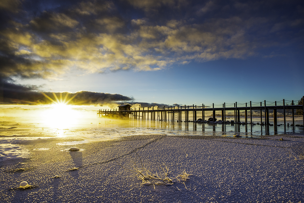 Foggy Sunrise, Tahoe City Pier