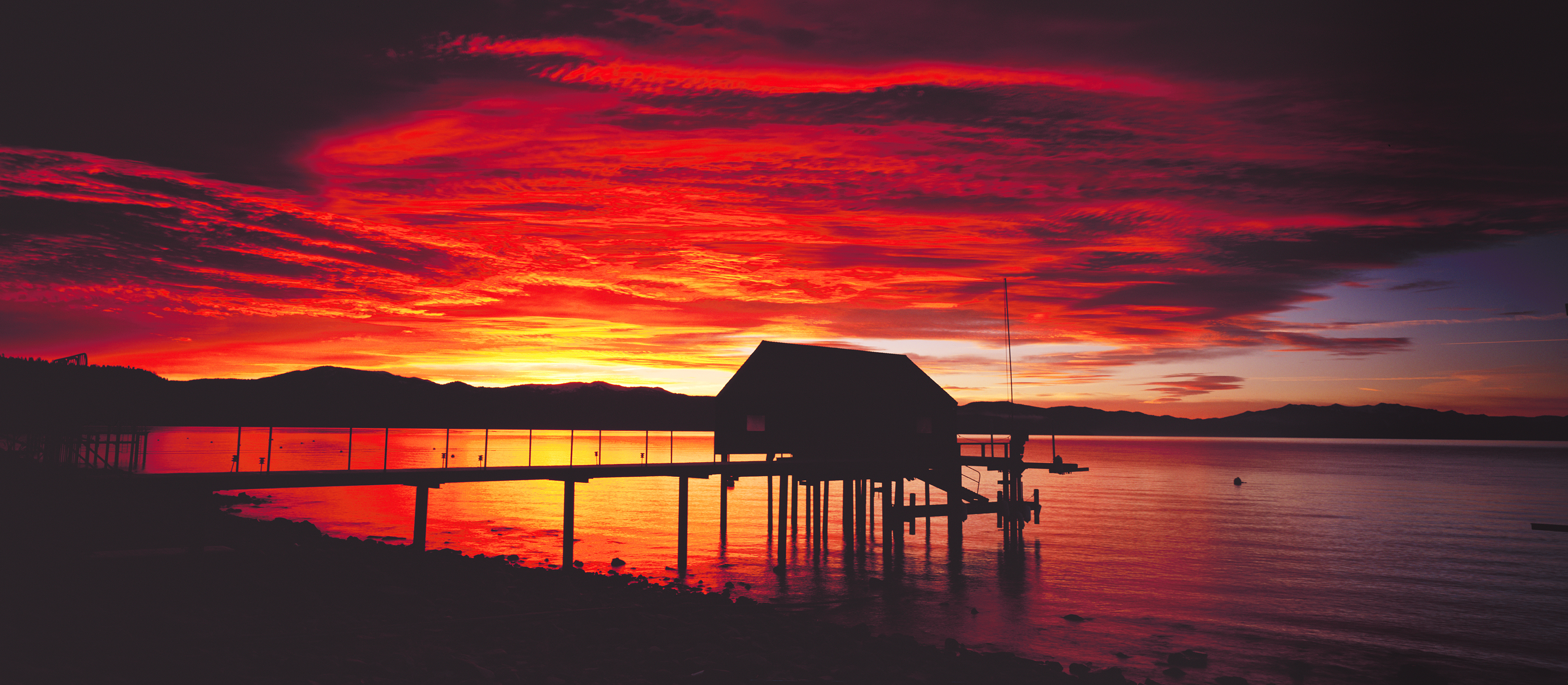 December Boathouse Sunrise Panorama, Tahoe Vista