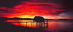 December Boathouse Sunrise Panorama, Tahoe Vista