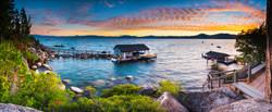 Summer Sunset Over Brockway Boathouses