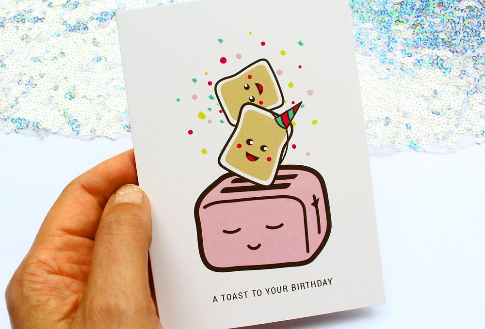 Illustrated Kawaii style greeting card