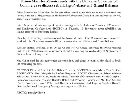 Prime Minister Minnis meets with the BCCEC to discuss the rebuilding of Abaco  and Grand Bahama