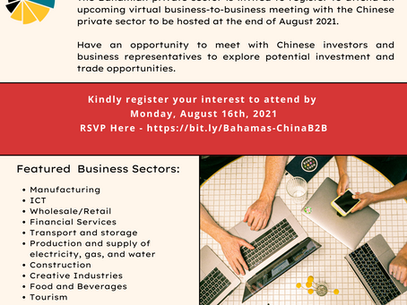 RSVP NOW: Bahamas - China Business-To-Business Virtual Meeting | August 2021