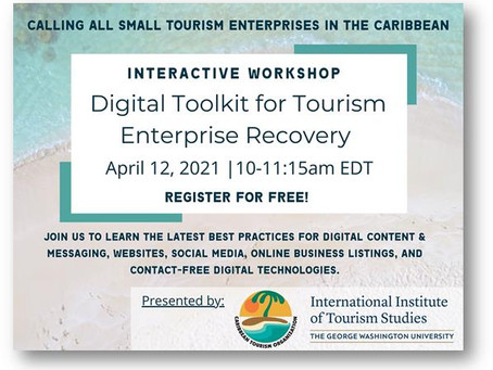 Event: Digital Toolkit for Tourism Enterprise Recovery Interactive Workshop | April 12th, 2021 10 AM