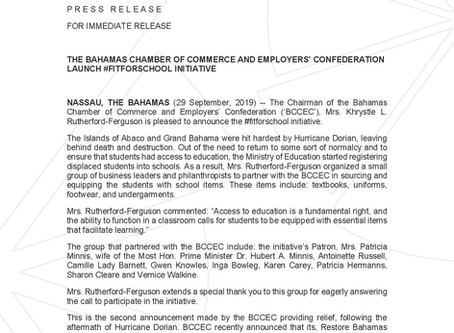 PRESS RELEASE: BCCEC Launch #FITFORSCHOOL Initiative