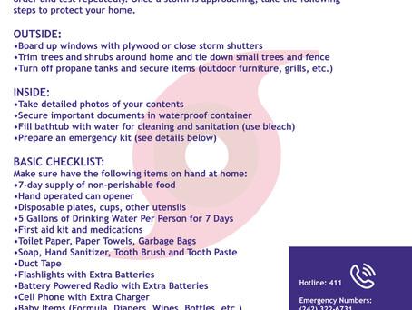 NEMA Hurricane Preparedness Checklist: