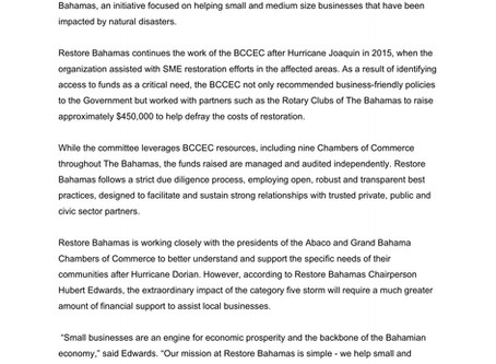 Press Release - Restore Bahamas