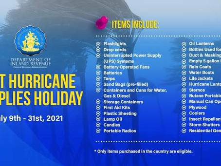 Department of Inland Revenue -  Hurricane Supplies Tax Holiday 2021