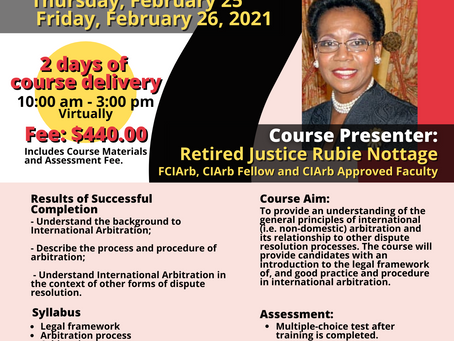Chartered Institute of Arbitrators Introductory Courses - February 25 -26 and March 1-2, 2021