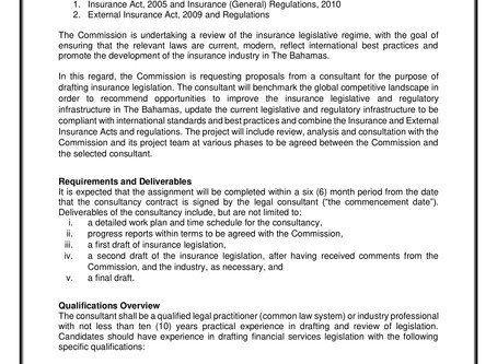 Advertisement: Insurance Commission of The Bahamas Consultant Requests for Proposal